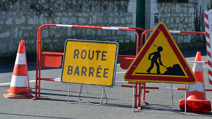 Route barrée à cause de travaux